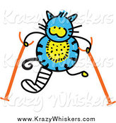 May 14th, 2014: Critter Clipart of a Doodled Blue Cat with Crutches by Prawny