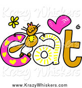 March 21st, 2014: Critter Clipart of a Doodled Kitty on the Word Cat by Prawny