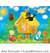 Critter Clipart of a Family and Animals Around a Cottage - Royalty Free by Alex Bannykh