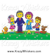 Critter Clipart of a Family and Their Pets on a Hill with Flowers by Alex Bannykh