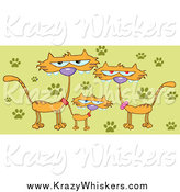 Critter Clipart of a Family of Marmalade Cats by Hit Toon