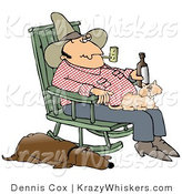 Critter Clipart of a Farmer Man Smoking a Pipe and Drinking a Beer While Sitting in a Rocking Chair with a Cat in His Lap and His Hound Dog at His Side by Djart