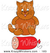 Critter Clipart of a Fat Brown Cat Sitting in Front of a Roll of Sausage by Alex Bannykh