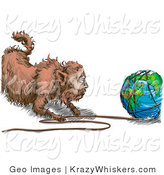 Critter Clipart of a Fat Cat Tugging String off of the World by AtStockIllustration