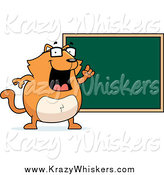 Critter Clipart of a Fat Orange Cat Professor Standing by a Chalkboard by Cory Thoman