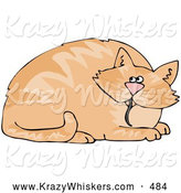 Critter Clipart of a Fat Orange Cat with a Mouse Tail Hanging out of His Mouth by Djart