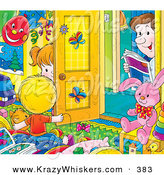 Critter Clipart of a Father Peeking in a Bright, Colorful Room, Watching His Son and Daughter Play by Alex Bannykh