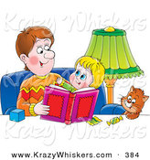 Critter Clipart of a Father Sitting with a Cat and His Daughter, Reading a Book by Alex Bannykh