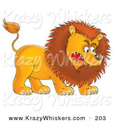 Critter Clipart of a Fearsome Aggressive Young Male Lion Growling and Baring His Teeth by Alex Bannykh