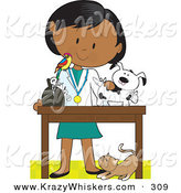 Critter Clipart of a Female Hispanic Veterinarian with a Bird on Her Shoulder, Bandaging up an Injured Puppy, a Cat at Her Feet by Maria Bell