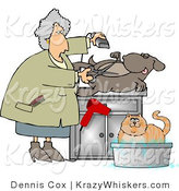 Critter Clipart of a Female Pet Groomer Cutting and Trimming Dog Hair While a Cat Bathes Nearby by Djart