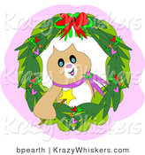 Critter Clipart of a Festive Brown Christmas Cat Holding a Magic Wand Inside a Wreath by