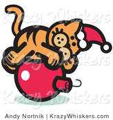 Critter Clipart of a Festive Orange Cat Wearing a Santa Hat and Lying on a Red Christmas Bauble Ornament by Andy Nortnik
