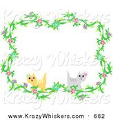 Critter Clipart of a Floral Vine and Cat Border by