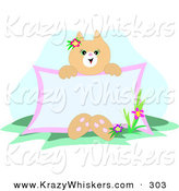 Critter Clipart of a Friendly Beige Cat Sitting by Flowers in Grass, Holding a Blank Advertising Sign by