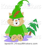 Critter Clipart of a Friendly Brown Robin Hood Cat in Green, Sitting Outside by an Evergreen Tree by