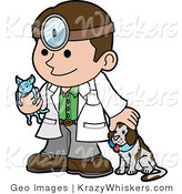 Critter Clipart of a Friendly Caucasian Male Veterinarian Petting a Dog and Holding a Cat During a Yearly Exam by Geo Images