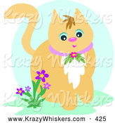Critter Clipart of a Friendly Orange Cat Wearing a Floral Collar, Sitting Beside Purple Flowers by