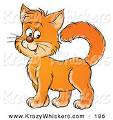 Critter Clipart of a Friendly Orange Kitten Cat Standing Proud and Smiling by Alex Bannykh