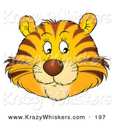 Critter Clipart of a Friendly Orange Tiger Face with Whiskers, Glancing off to the Right by Alex Bannykh