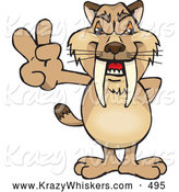 Critter Clipart of a Friendly Peaceful Sabertooth Tiger Smiling and Gesturing the Peace Sign by Dennis Holmes Designs