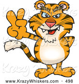 Critter Clipart of a Friendly Peaceful Tiger Smiling and Gesturing the Peace Sign by Dennis Holmes Designs