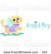 Critter Clipart of a Friendly Prancing Angel Cat with Wings, a Halo and Angel Boy Text by Bpearth