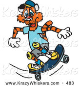 Critter Clipart of a Friendly Skateboarding Tiger in Clothes and Knee Pads by Dennis Holmes Designs