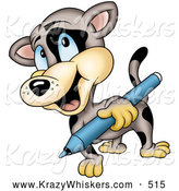 Critter Clipart of a Friendly Spotted Cat Carrying a Blue Marker by Dero