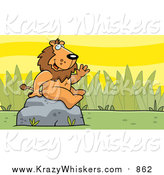 April 18th, 2016: Critter Clipart of a Friendly Waving Male Lion Character on a Rock by Cory Thoman