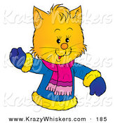 Critter Clipart of a Friendly Yellow Kitty Wearing a Winter Coat and Waving by Alex Bannykh