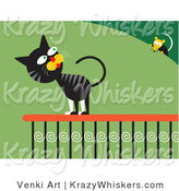 Critter Clipart of a Frisky Black and Gray Cat on a Porch Railing, Looking over His Shoulder at a Mouse on a Bush by Venki Art