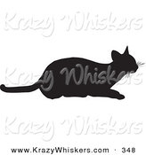 Critter Clipart of a Frisky Cat Silhouetted in Black, Ready to Pounce on White by KJ Pargeter