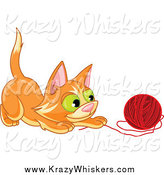Critter Clipart of a Frisky Ginger Kitten Playing with a Ball of Red Yarn by Pushkin
