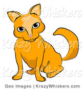 Critter Clipart of a Frisky Orange Cat Looking Forward by AtStockIllustration