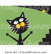 Critter Clipart of a Frustrated Black and Gray Tabby Cat Trying to Catch a Mouse That's Teasing Him and Laughing on Top of a Bush by Venki Art