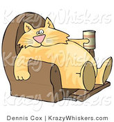 Critter Clipart of a Funny Human-like Orange Tabby Cat Sitting on a Recliner Chair with a Can of Beer by Djart