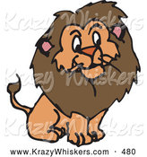 October 7th, 2013: Critter Clipart of a Furry Brown Male Lion with a Big Mane on White by Dennis Holmes Designs