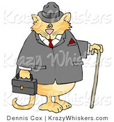 Critter Clipart of a Gentlemanly Tabby Cat in a Jacket and Hat, Holding a Cane and Briefcase by Djart