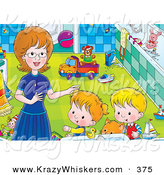 Critter Clipart of a Ginger Cat and a Pair of Kids Getting Help from Mom in a Bathroom by Alex Bannykh