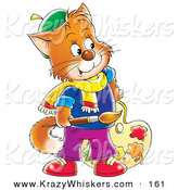 Critter Clipart of a Ginger Cat Artist Holding a Paintbrush and Paint Palette by Alex Bannykh