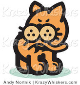 Critter Clipart of a Ginger Cat Biting His Tail to Ease a Flea Itch by Andy Nortnik