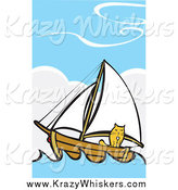 Critter Clipart of a Ginger Cat on a Sailboat at Sea by Xunantunich