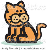 Critter Clipart of a Ginger Cat Sitting and Looking Back over His Shoulder by Andy Nortnik