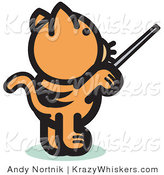 Critter Clipart of a Ginger Cat Standing on His Hind Legs and Using a Pointer Stick to Point Something out or Using a Wand to Conduct an Orchestra by Andy Nortnik