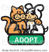Critter Clipart of a Ginger Cat with His Arm Around a Cute White Dog on an Adopt Internet Web Icon by Andy Nortnik