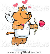 Critter Clipart of a Ginger Cupid Cat Shooting Heart Arrows by Cory Thoman