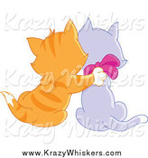 Critter Clipart of a Ginger Tabby Kitten Cuddling with a Purple Kitten by Yayayoyo