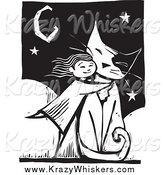 Critter Clipart of a Girl Hugging a Giant Cat, in Black and White Woodcut Style by Xunantunich