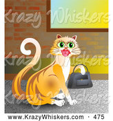 September 30th, 2013: Critter Clipart of a Goofy Shopping Orange Kitty Cat Wearing Lipstick and Carrying a Purse on Her Paw by Prawny